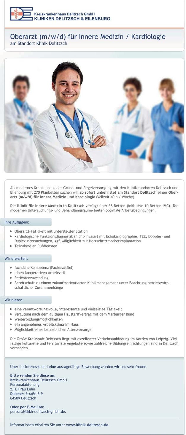 Oberarzt (m/w/d) für Innere Medizin / Kardiologie
