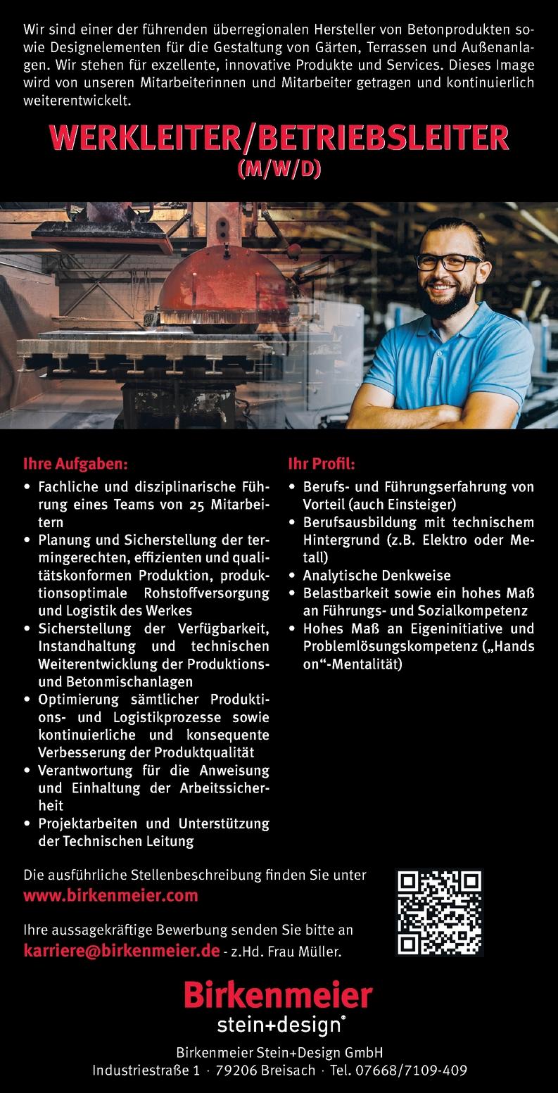 Werkleiter/Betriebsleiter m/w/d