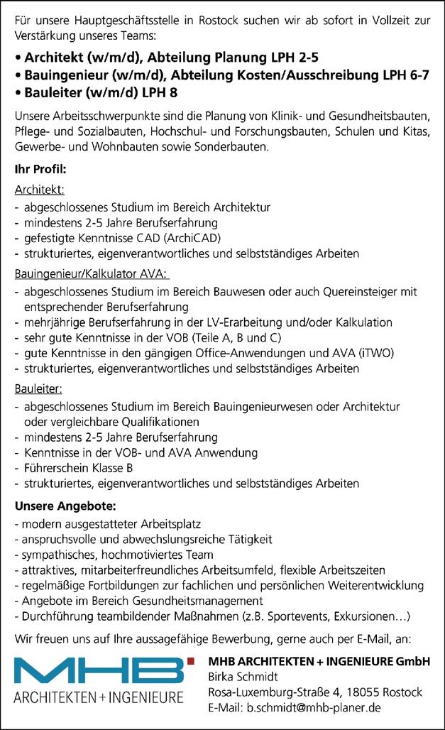 Architekt (w/m/d), Abteilung Planung LPH 2-5