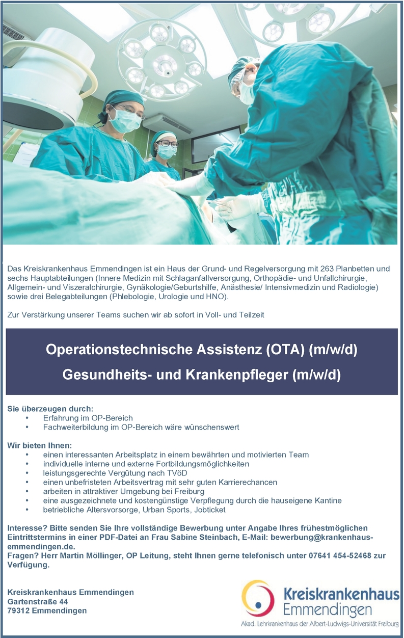 Operationstechnische Assistenz (OTA) (m/w/d)