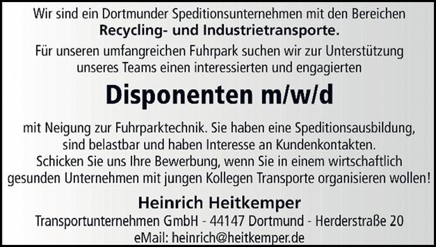 Disponenten (m/w/d) mit Neigung zur Fuhrparktechnik gesucht