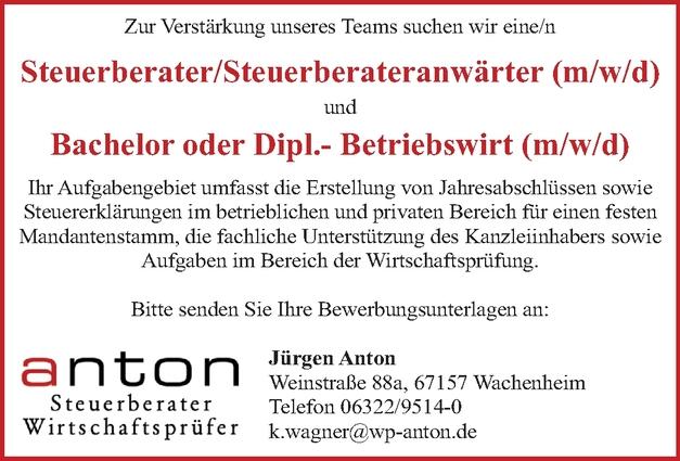 Steuerberater/ Steuerberateranwärter (m/w/d)