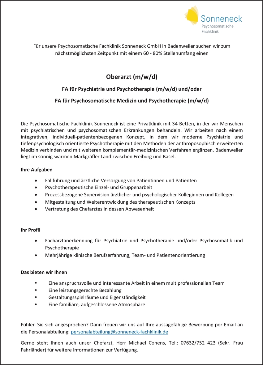 FA für Psychiatrie und Psychotherapie (m/w/d)
