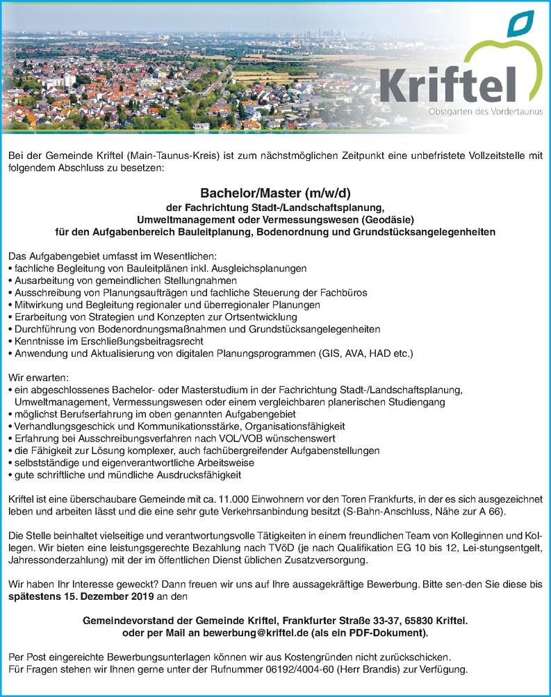 Bachelor/Master (m/w/d) der Fachrichtung Stadt-/Landschaftsplanung