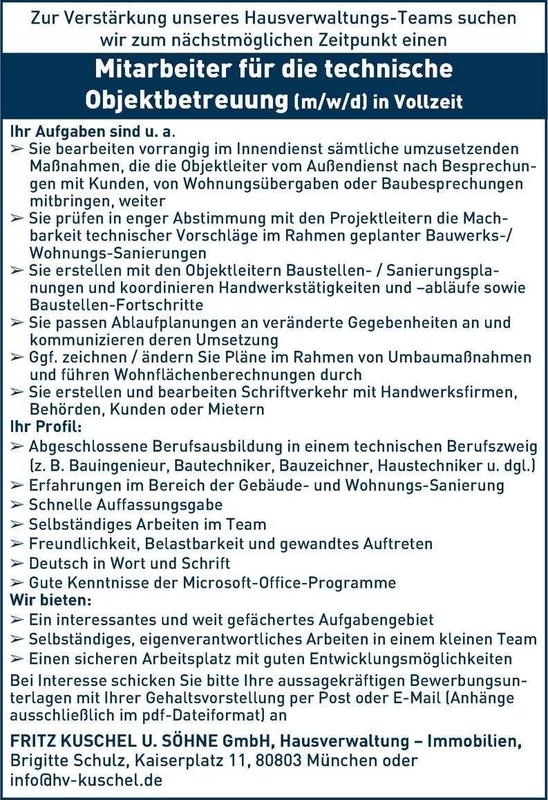 Mitarbeiter für die technische Objektbetreuung (m/w/d) in München