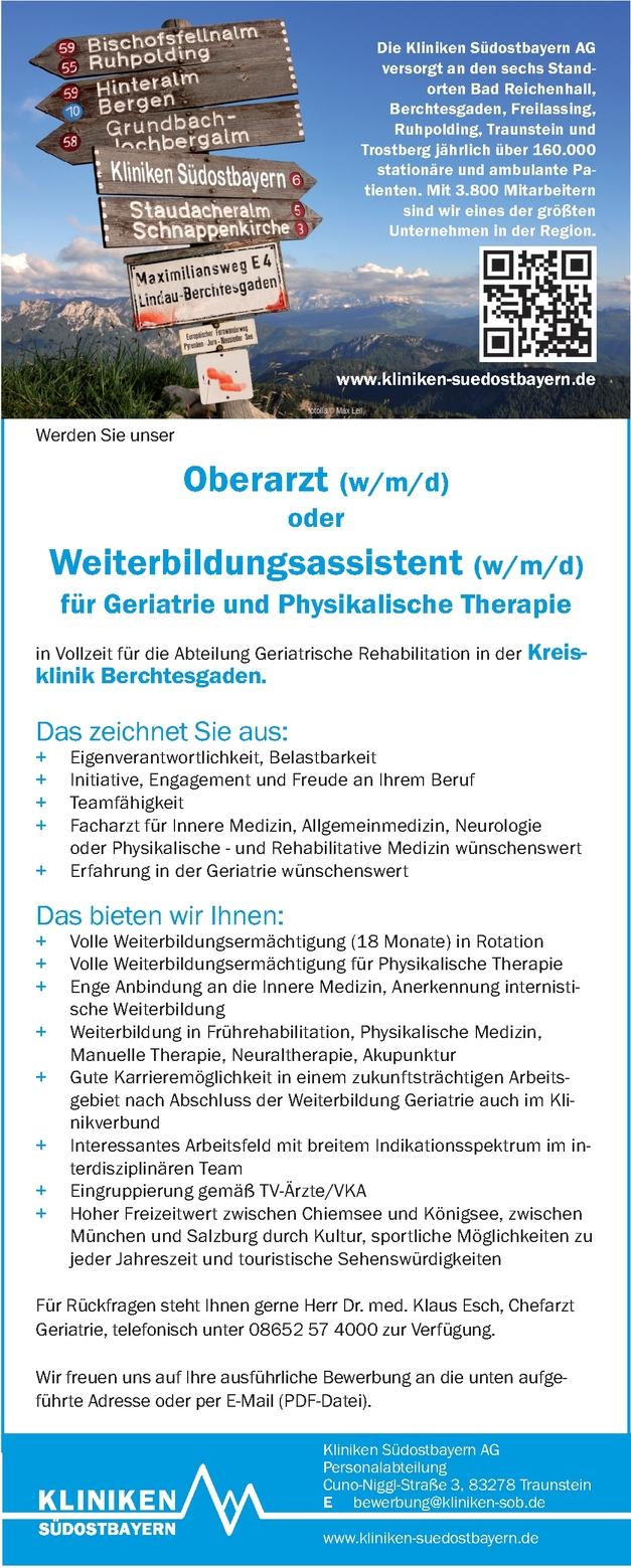 Oberarzt (w/m/d) oder Weiterbildungsassistent (w/m/d) für Geriatrie und Physikalische Therapie