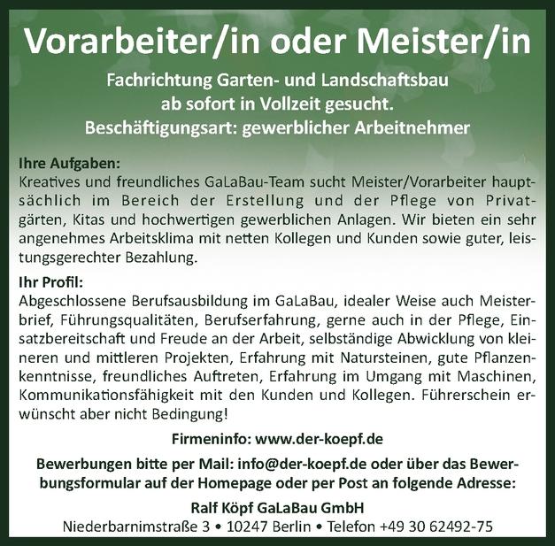 Garten- und Landschaftsbauer-Meister/in