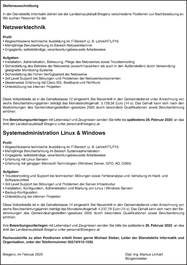 Systemadministrator/in (m/w/d)