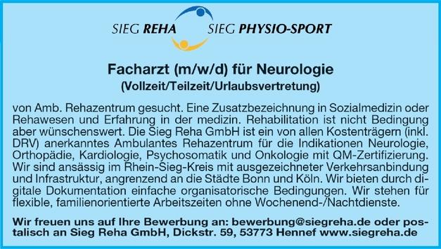 Facharzt (m/w/d) für Neurologie