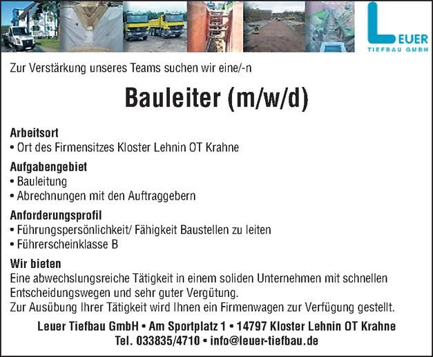 Bauingenieur/in
