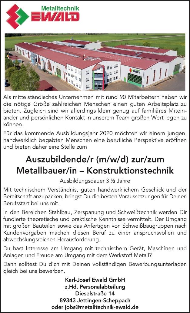 Auszubildende/r (m/w/d) zur/zum  Metallbauer/in – Konstruktionstechnik