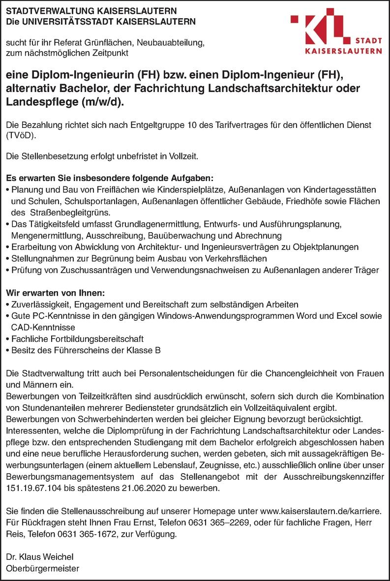 Dipl.-Ing. FH Landschaftsarchitektur