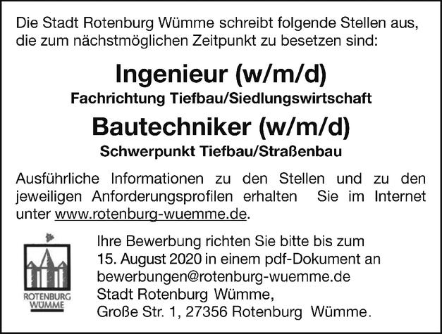 Ingenieur Tiefbau/Siedlungswirtschaft (m/w/d)