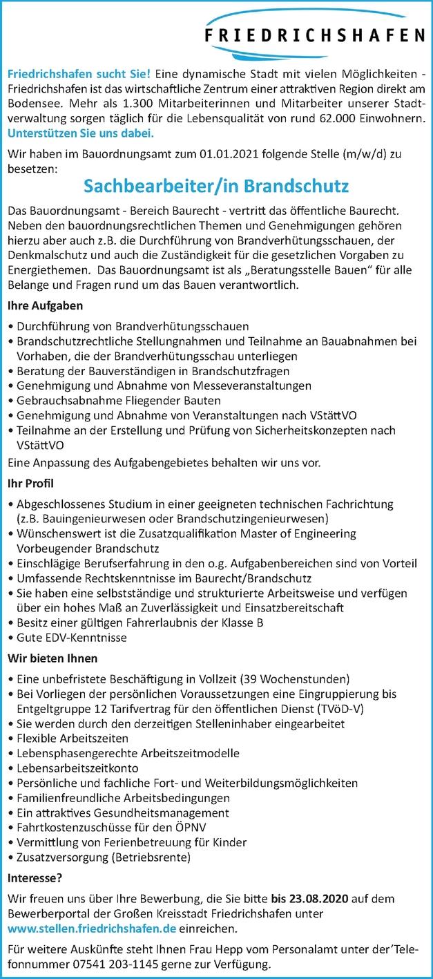 Sachbearbeiter/in Brandschutz  (m/w/d)