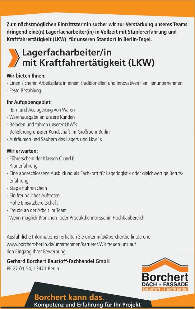 Lagerfacharbeiter/in mit Kraftfahrertätigkeit (LKW)