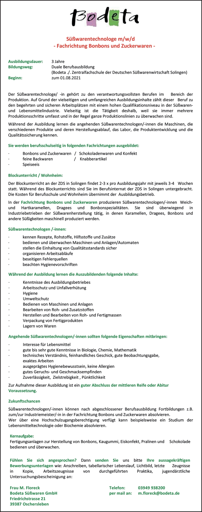 Ausbildung Süßwarentechnologe/-technologin