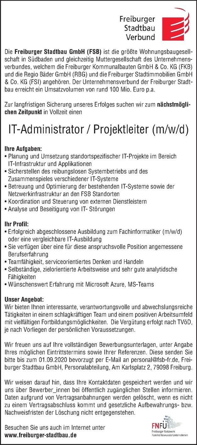 IT-Administrator / Projektleiter (m/w/d)