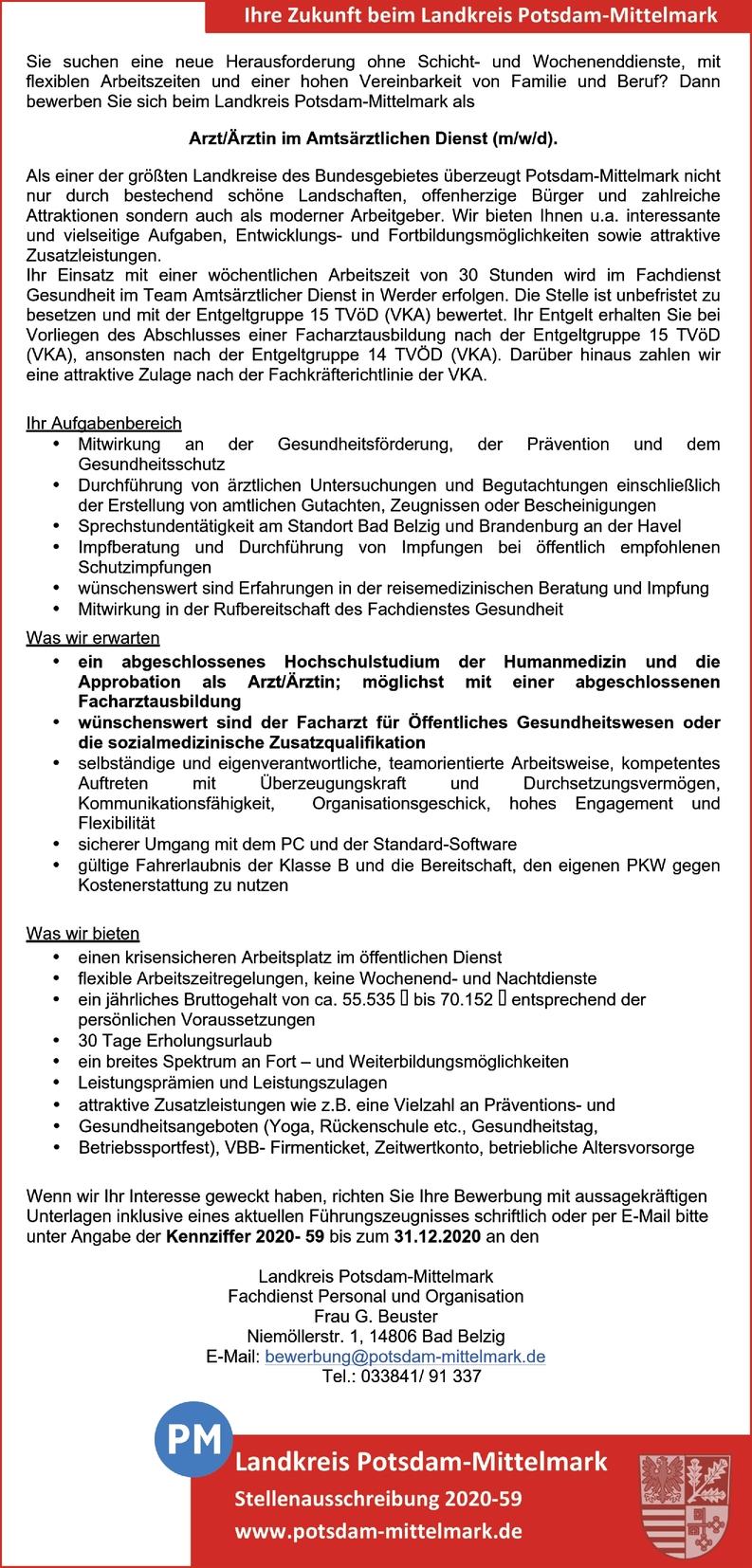 Facharzt/-ärztin - Öffentliches Gesundheitswesen