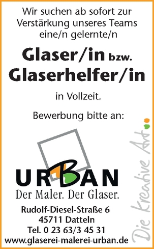 Glaser bzw. Glaserhelfer (m/w/d)