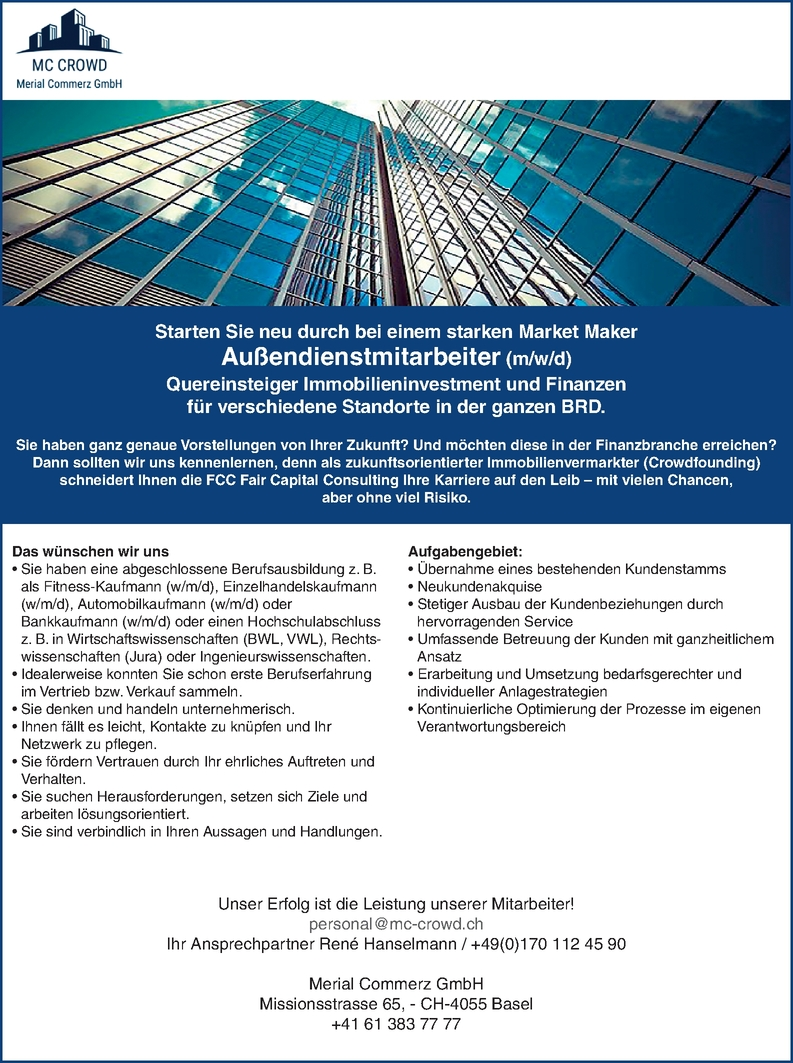 Außendienstmitarbeiter Vertrieb Immobilieninvestment Finanzen m/w/d