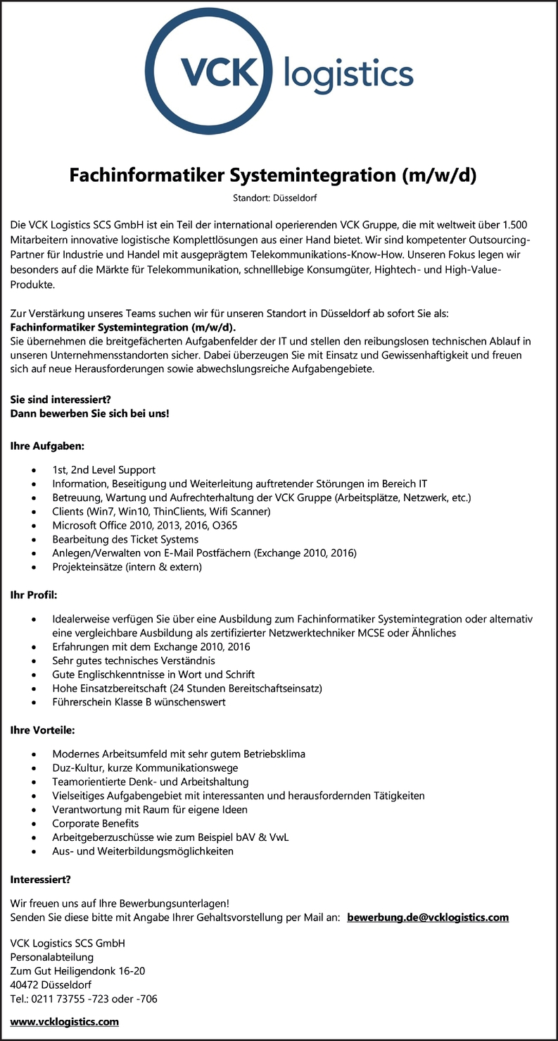 Fachinformatiker Systemintegration (m/w/d)
