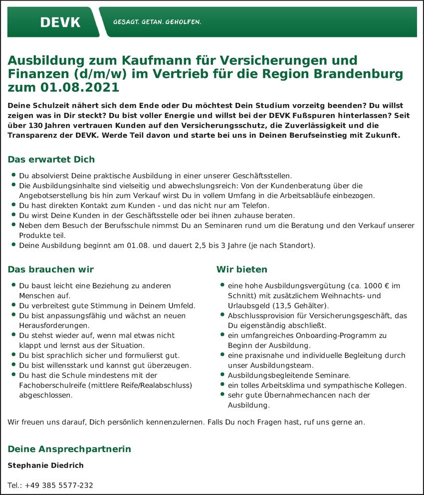 Ausbildung Versicherungskaufmann / frau m/w/d