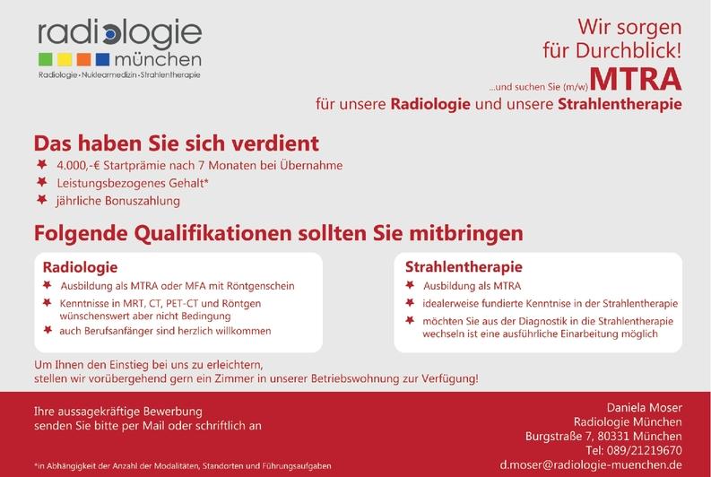 MTRA Radiologie Strahlentherapie (m/w/d)
