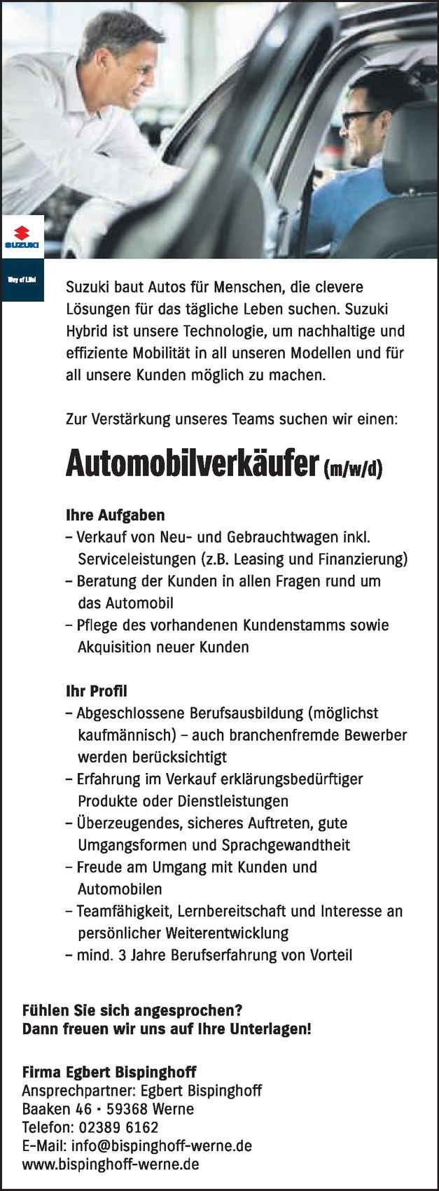 Automobilverkäufer/in