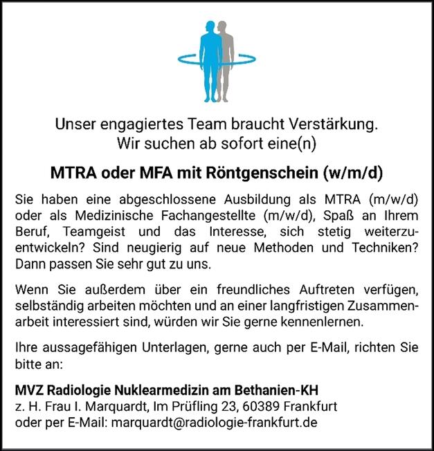 Medizinisch-technische/r Radiologieassistent/in