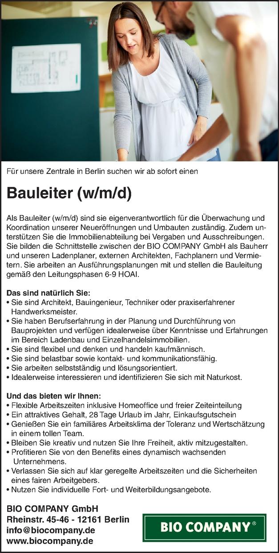 Bauleiter (w/m/d)