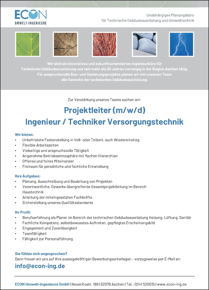 Ingenieur/in - Versorgungstechnik
