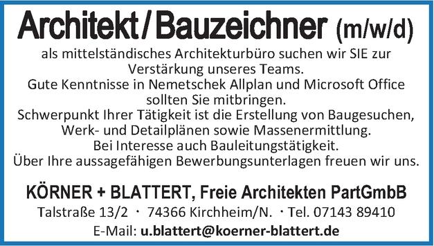 Architekt / Bauzeichner (m/w/d)