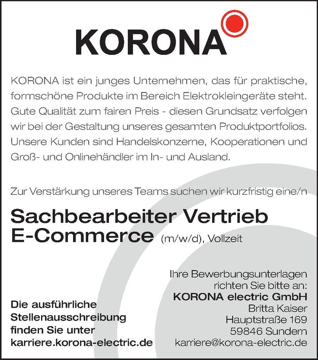 E-Commerce-Manager /-Assistent/in