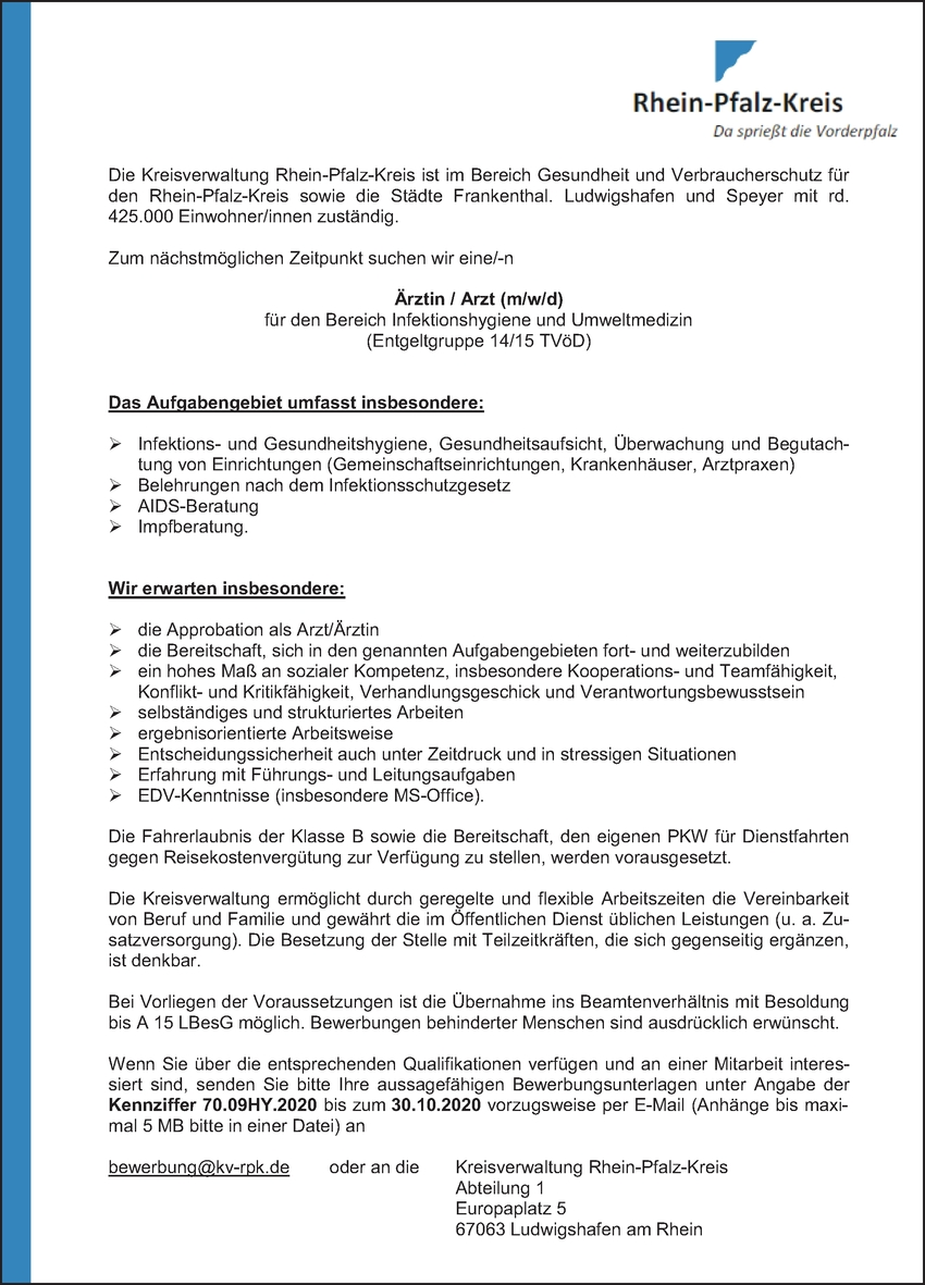 Facharzt/-ärztin - Hygiene und Umweltmedizin