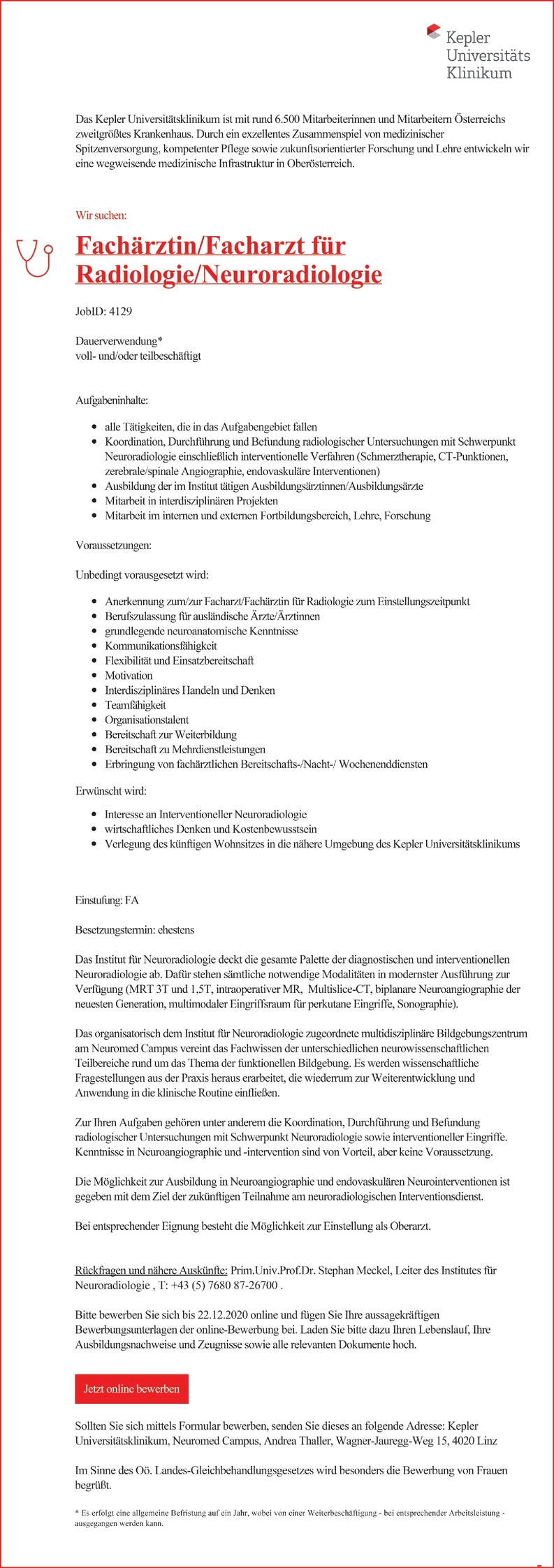 Fachärztin/Facharzt für Radiologie / Neuroradiologie