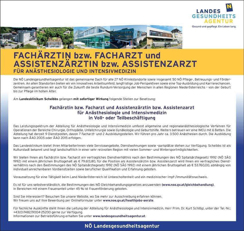 Facharzt / Fachärztin Anästhesiologie und Intensivmedizin