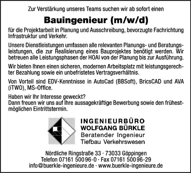 Bauingenieur m/w/d
