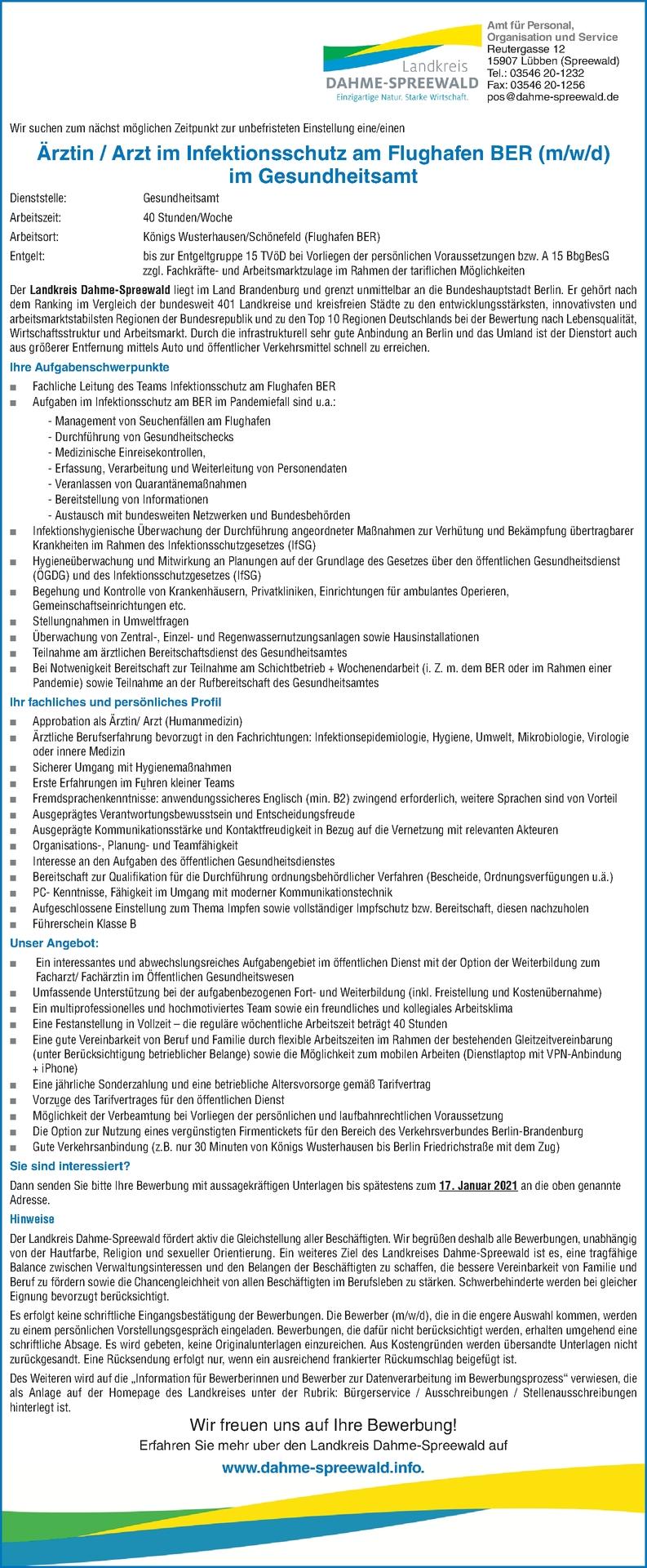 Arzt /-ärztin Infektionsschutz