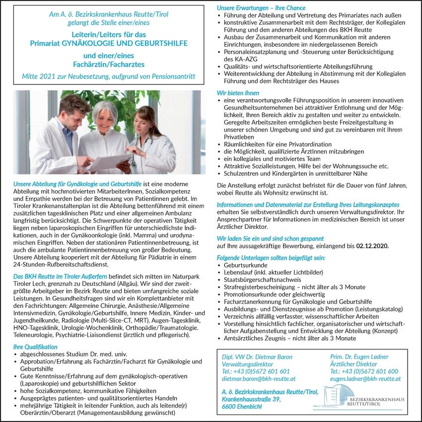 Facharzt Gynäkologie (m/w/d)
