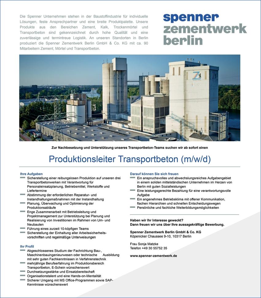 Produktionsleiter Transportbeton (m/w/d)
