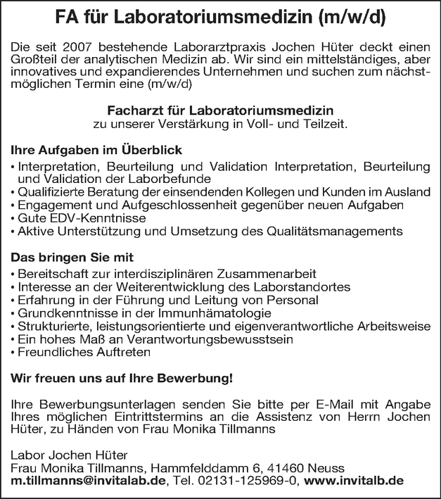 Facharzt Laboratoriumsmedizin (m/w/d)