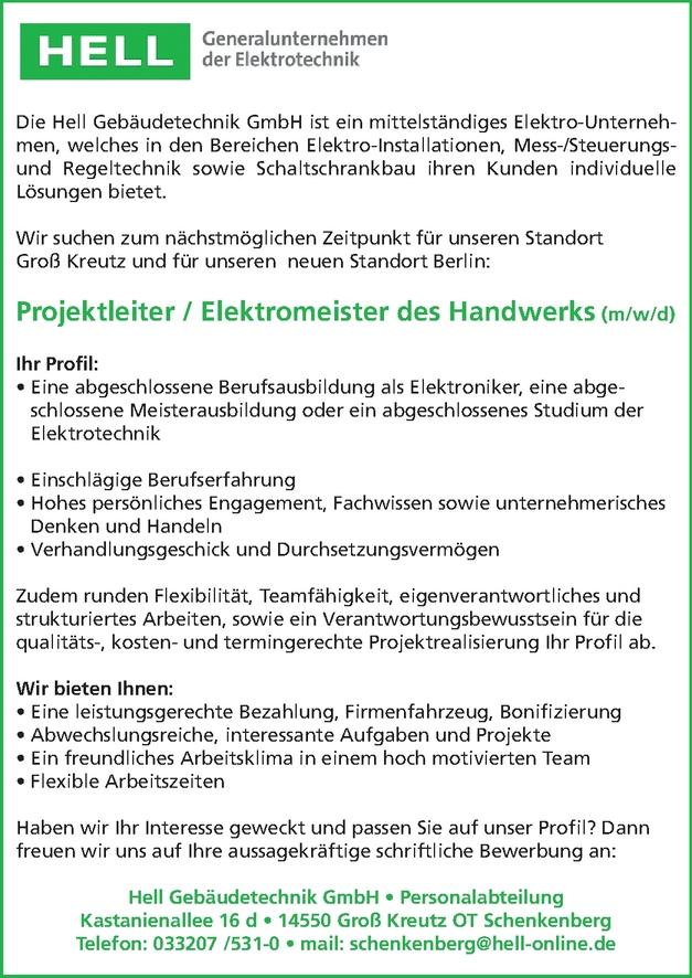 Projektleiter / Elektrotechniker (m/w/d)