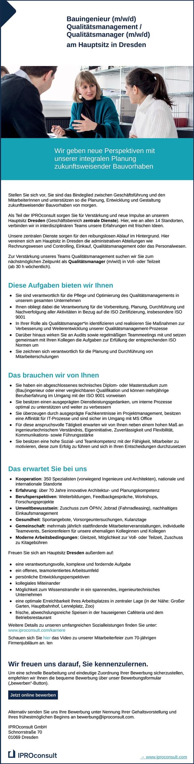 Bauingenieur / Qualitätsmanager m/w/d