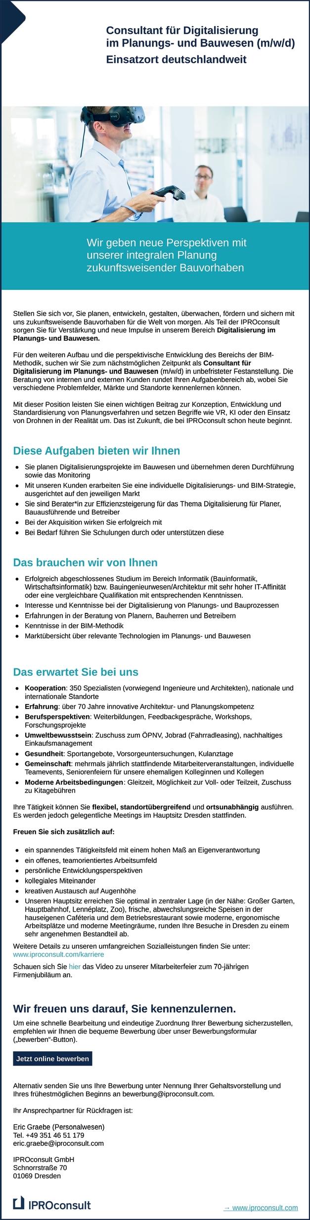 Consultant für Digitalisierung im Planungs- und Bauwesen m/w/d