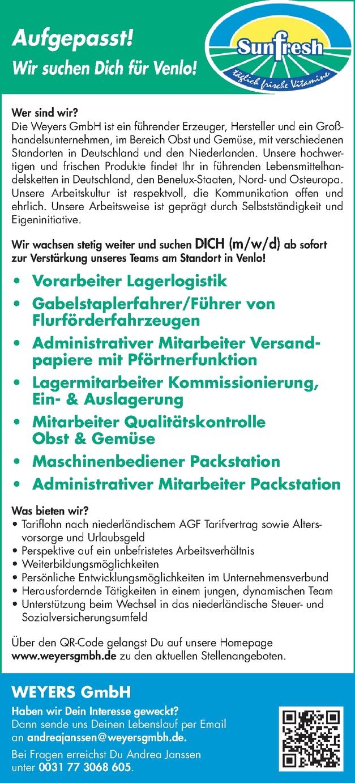Vorarbeiter Lagerlogistik m/w/d