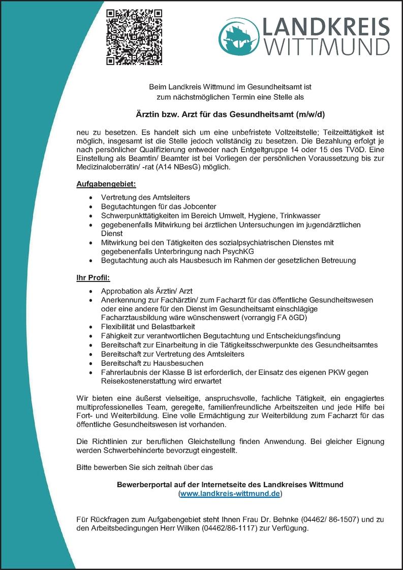 Facharzt Öffentliches Gesundheitswesen (m/w/d)