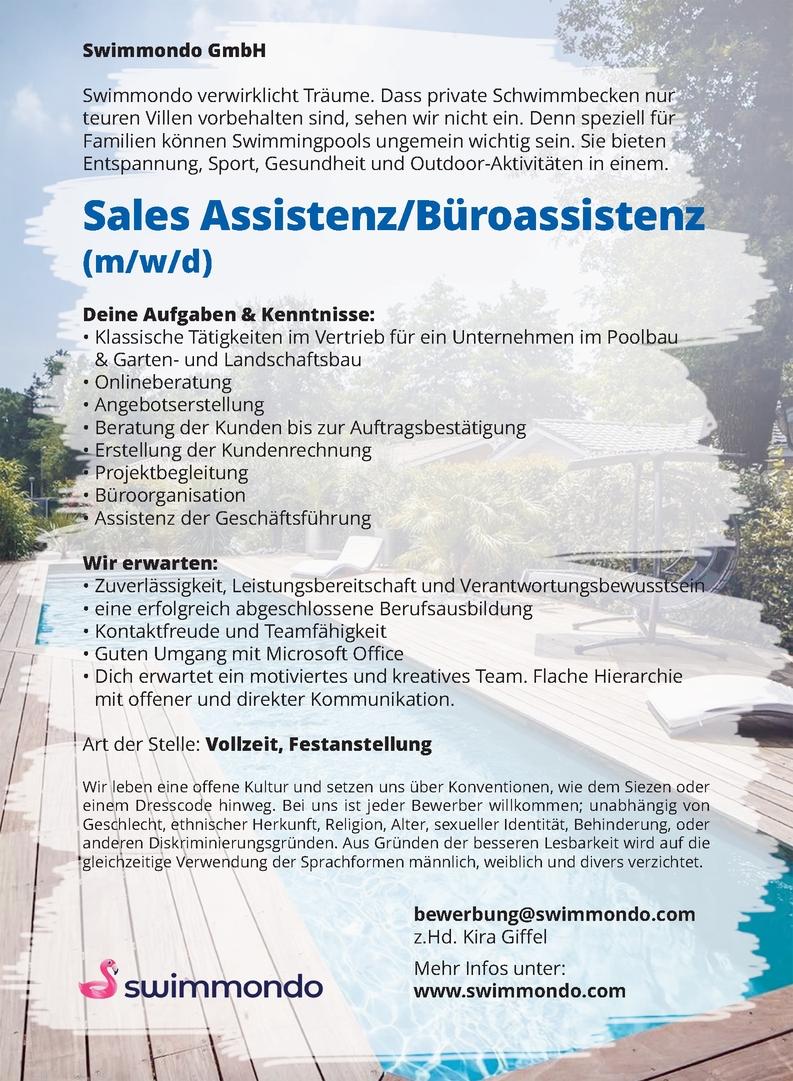 Sales Assistenz, Büroassistenz (m/w/d)