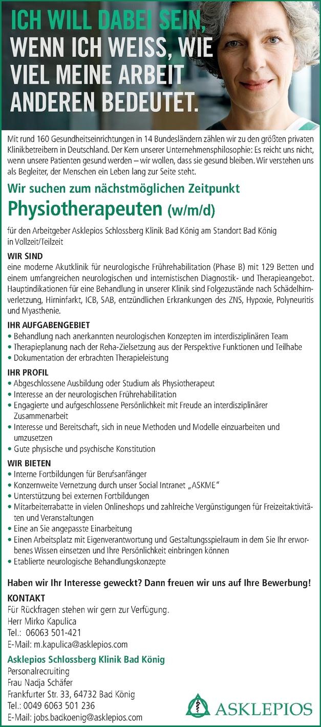 Physiotherapeuten (w/m/d)