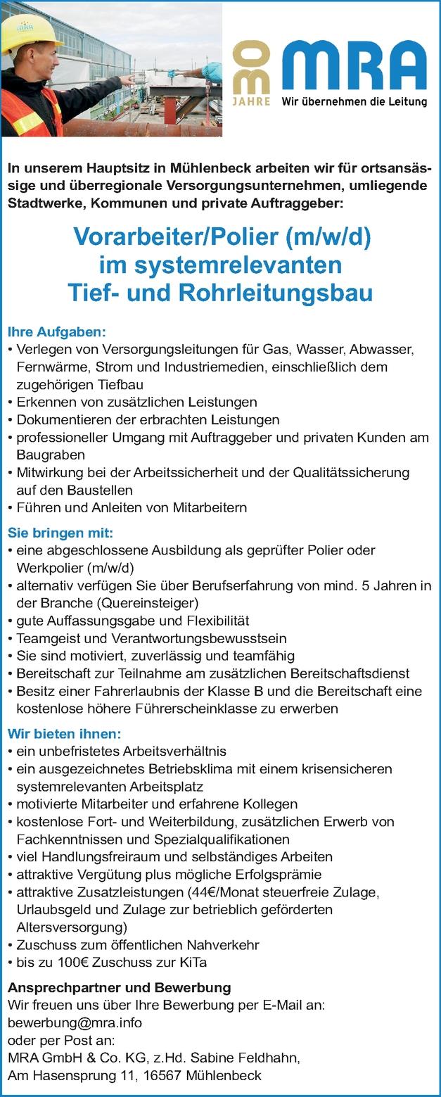 Vorarbeiter Tief- und Rohrleitungsbau (m/w/d)