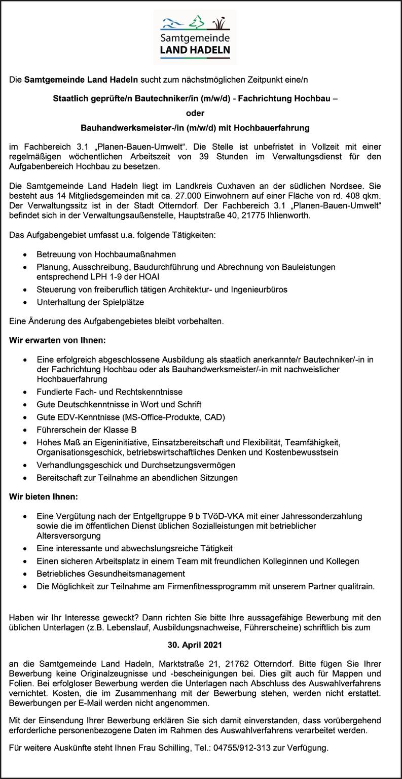 Bauhandwerksmeister/-in mit Hochbauerfahrung